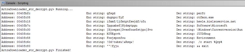 GHIDRA scripting - Artra Downloader strings decryptor